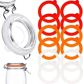 12 Pieces Silicone Jar Gasket Replacement Jar Seal, Leak-Proof Airtight Gasket Sealing Rings Jar Lids Fitting Seals for Re...