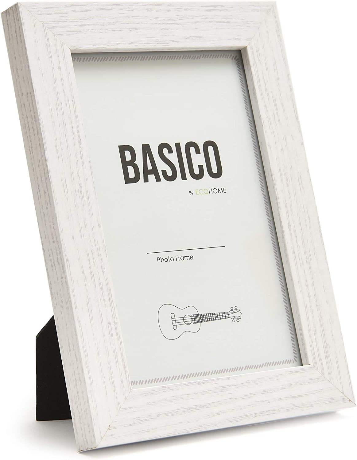 EcoHome 5x7 Picture Frames White Wood – for Table Top and Wall Mounting Display