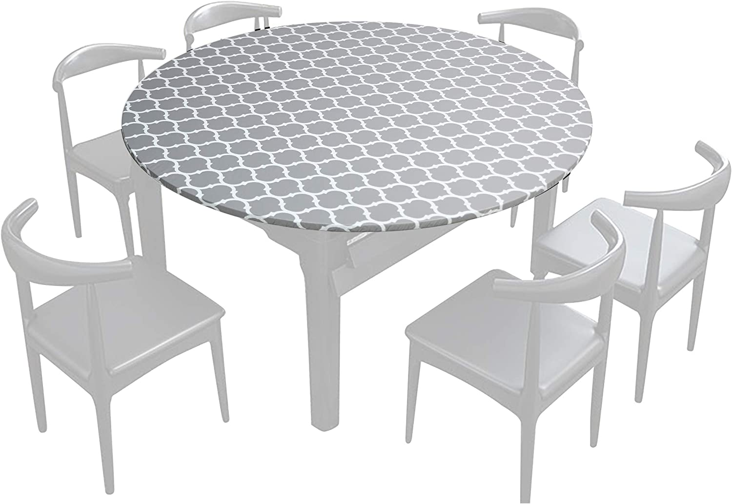 Waterproof Wipeable Plastic Cover,Grey Stripes for 5-Seat Table of 36-43 Diameter Elastic Edge Indoor Outdoor Patio Round Fitted Vinyl Tablecloth Flannel Backing