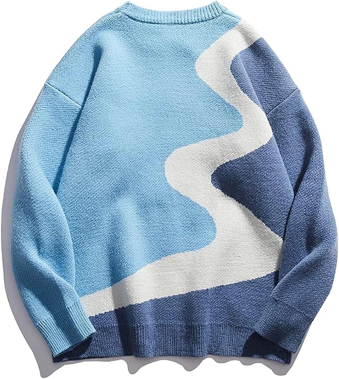 JOAOL Men Harajuku Winter Geometry Knitted Sweater Pullover Soft Oversized Sweater