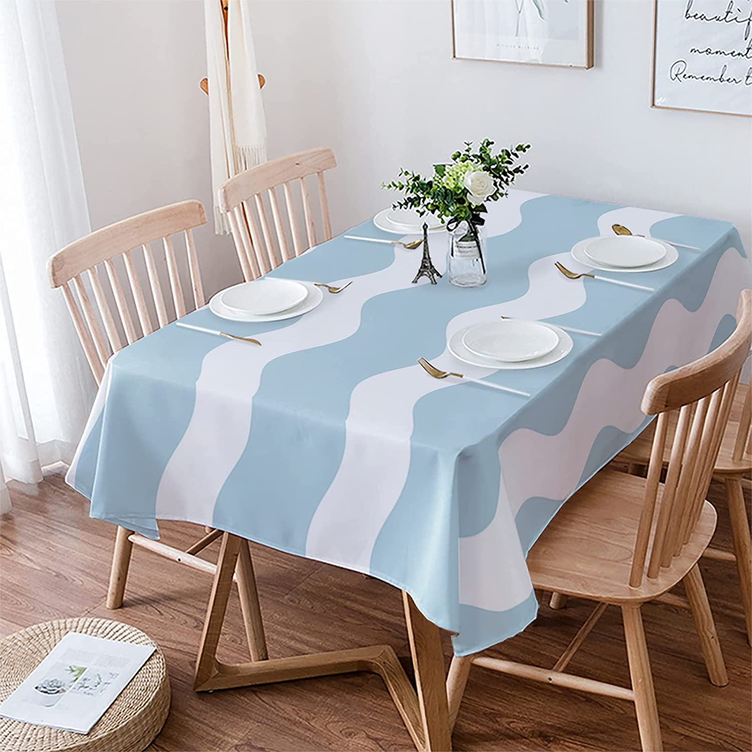 PartyShow Cotton Linen Tablecloth High Don't miss the campaign quality Rippled Picnic for Wavy Cloth