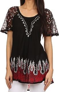 474ce9c5cc8fd Sakkas Cora Relaxed Fit Batik Design Embroidery Cap Sleeves Blouse Top