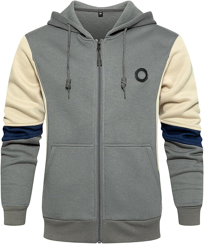 Men's Hoodies Zip Up Lightweight Men Fall Winter Casual Long Sleeve Novelty Color Block Sports Outwear Hooded Sweatshirt