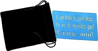 1 CARTA personalizzata da incidere + 1 BORSA in velluto; carta metallica EXCUSE MOI testo, messaggio, nome grazie, scuse, ...