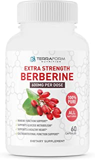 Pure Berberine - 1200mg Max Strength – Supports Immune Function, Glucose Metabolism & Helps Cardiovascular Function – 1 Month