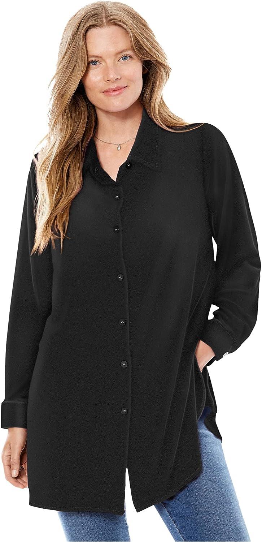 Woman Within Women's Plus Size Velour Shirt