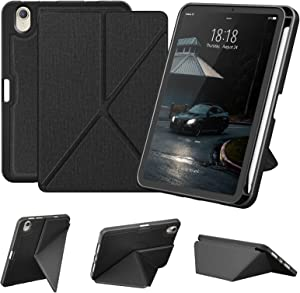 DTTO Case for iPad Mini 6th Gen 8.3 Inch 2021 with Pencil Holder, Multi - Angle Magnetic Standing Cover with TPU Back Shell Wireless Charging [Auto Wake/Sleep], Black