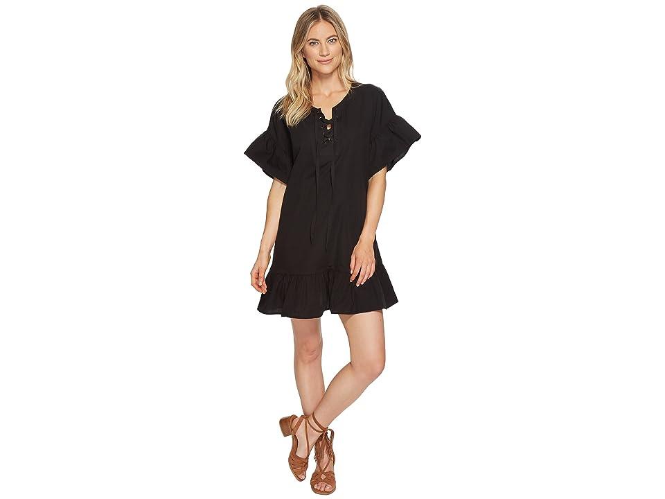 Lucky Brand Lace-Up Dress (Lucky Black) Women
