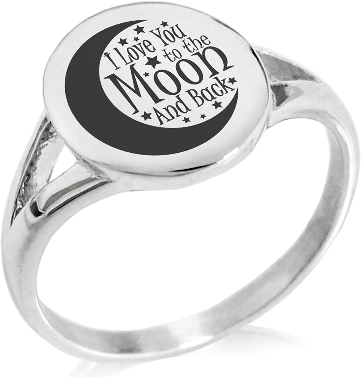 Tioneer Stainless Steel Crescent I Love You to The Moon and Back Minimalist Oval Top Polished Statement Ring