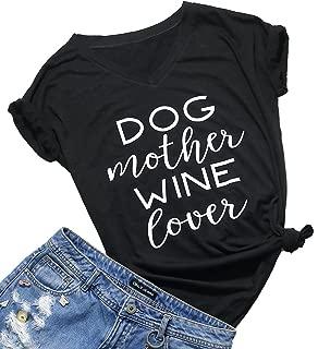 Womens Dog Mom Print Short Sleeve V-Neck T-Shirt Funny Dog Paw Print Tee Blouse