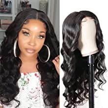Sunber Silk Base Fake Scalp T-Part Lace Closure Wigs Body Wave Human Hair Lace Wig For Black Women, Brazilian Virgin hair 4x1 Hand Tied Lace Part Wigs Pre-Plucked Natural Color 150% Density (14 inch, body wave natural color)