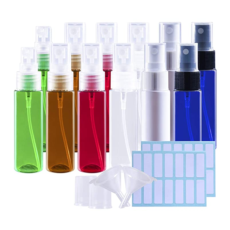 つば好奇心盛優先権スプレーボトル 遮光瓶 12本セット 30ML 詰替ボトル 空容器 霧吹き アロマ虫除けスプレー ラベルシール ミニ漏斗付き(6色)