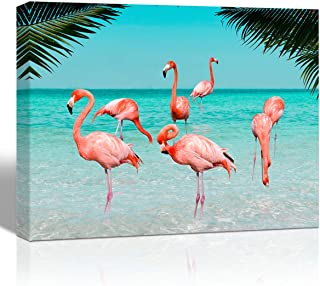 Purple Verbena Art Pink Flamingos in Sea Water Pictures Canvas Print Ocean Animals Palm Tree Summer Seascape Wall Art Hand Painting on Canvas Art Home Decor for Living Room Bedroom,Framed 12x16 Inch