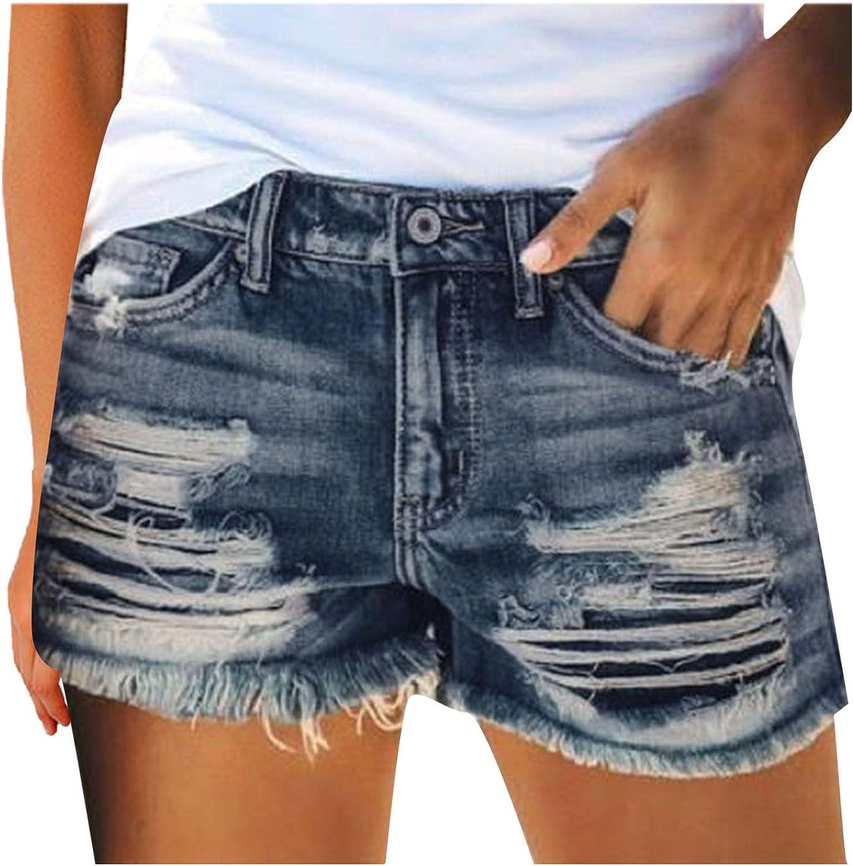 Qikafan Denim Shorts for Women,Women's Casual Denim Shorts Frayed Raw Hem Ripped Jeans Shorts with Pockets