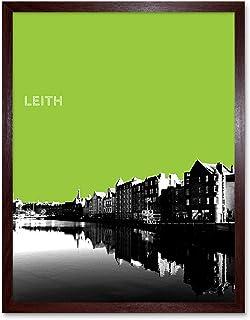 Leith Shore Edinburgh Scotland Scottish Landmark Green Art Print Framed Poster Wall Decor 12x16 inch エジンバラスコットランドスコットランドラン...