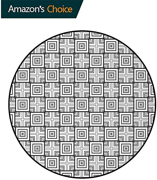 Black And White Modern Machine Round Bath Mat Geometrical Pattern With Overlapping Squares And Optical Illusion Effect Non Slip No Shedding Kitchen Soft Floor Mat Diameter 24 Inch Black White