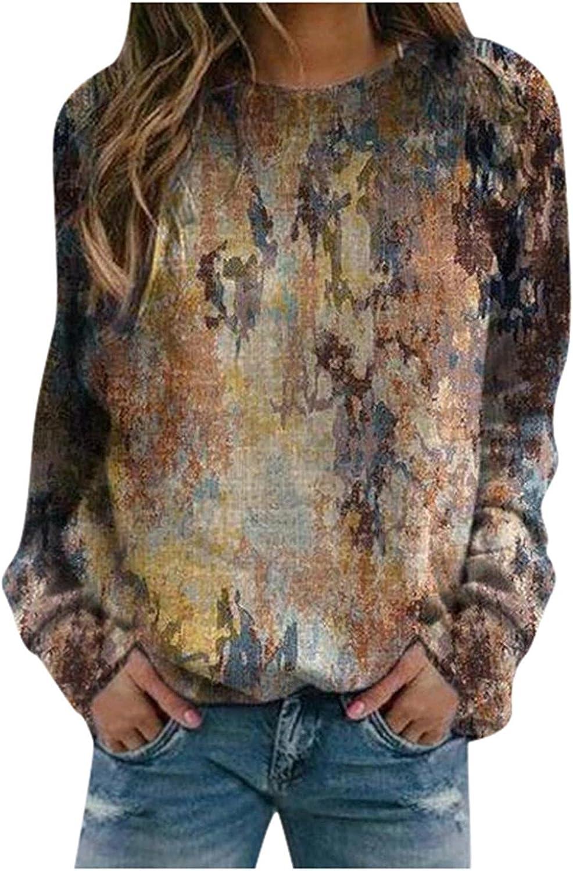 SPOORYYO Sweatshirts for Women Long,Women's Tie-Dye Print Sweatshirts Thermal Crewneck Long Sleeve Loose Pullover Shirts