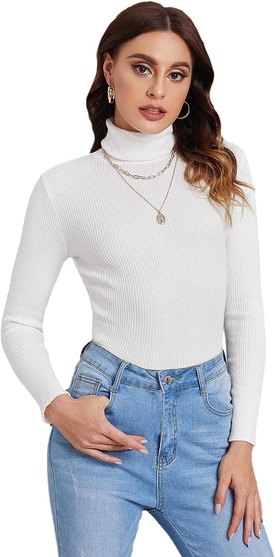 SweatyRocks Women's Long Sleeve Turtleneck Ribbed Knit Pullover Sweater Top
