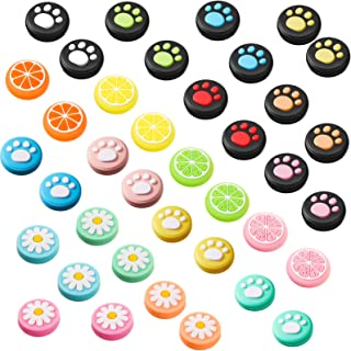 38 Pieces Silicone Thumb Grips Joystick Caps Button Caps Analog Stick Covers Cat Paw Lemon and Flower Design Compatible wi...