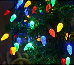 Windpnn Colored Led Christmas Lights, Battery Operated Clear Green Wire Xmas Tree Lights 50 LED C3 Bulbs Multicolored Strawberry String Lights for Indoor Patio Home Garland, Christmas Decorations