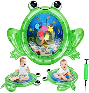 Alfombra Inflable del Agua Nueva Forma de Rana, Water Mat Colchones de Agua inflables de Tiempo Boca Abajo, Centro de Actividades Divertidas para La Estimulación del Crecimiento de Su Bebé con Bomba