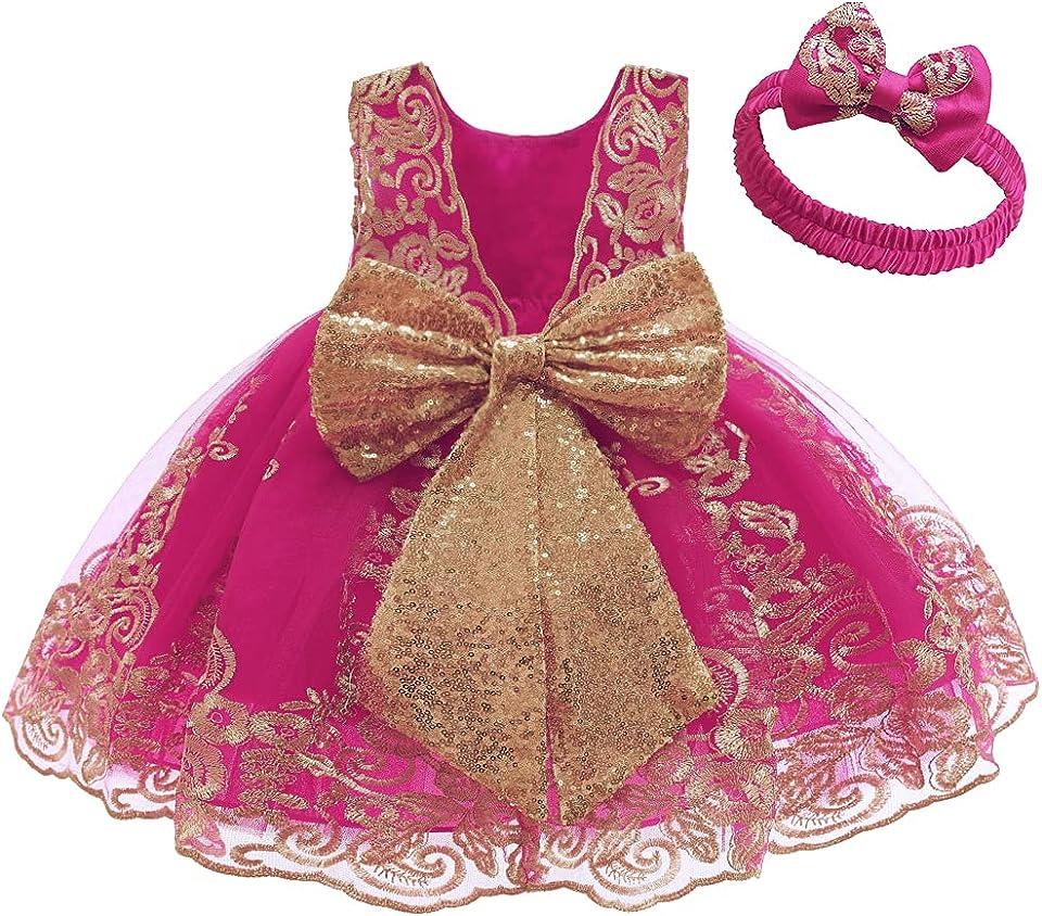Baby Mädchen Geburtstag Partykleid Taufkleid Rückenfrei Stickerei Ärmellos Abendkleid Formal Festkleid mit Stirnband