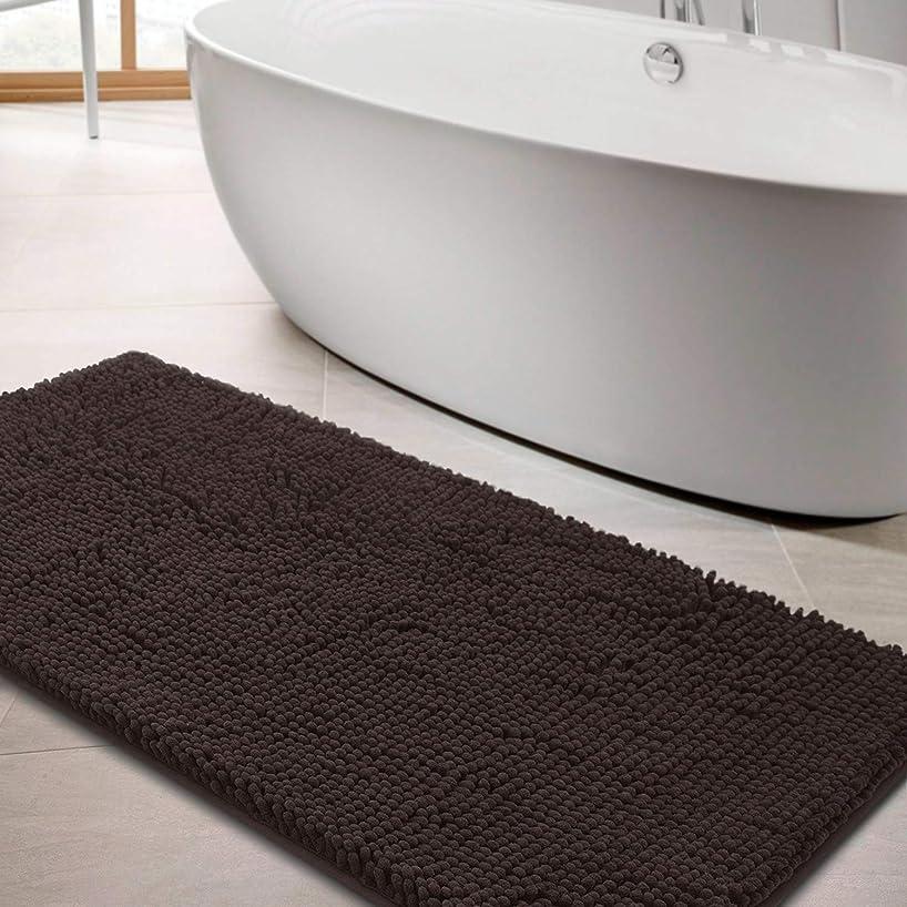上にタイトル水っぽいLINLA バスマット バスルームラグ ソフト 吸収性 シャギーマイクロファイバー 洗濯機洗い可 ドアマットに最適 28X47 ブラウン