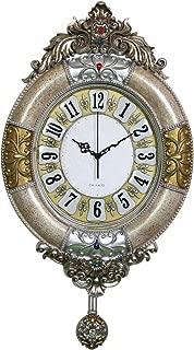 Fancy Elegant Ethnic Luxury Wall Clock Pendulum W19H34 Inch Decorative Large Vintage Handicraft American Hanging Creative Fashion Battery Silent Quartz European 3d Resin Frame for Living Room ZJART
