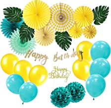 SUNBEAUTY Anniversaire 1 an Garcon Decoration Bleu Or Ballon Deco Papier Pompon de Soie Tassel Photo Booth Birthday Banderole Bleu