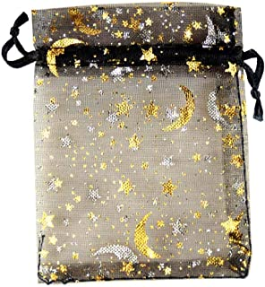 SUNGULF 100Pcs Sheer Organza Drawstring Pouches Stars and Moon Wedding Party Favor Jewelry Candy Gift Bags (6x9 inch, Black)