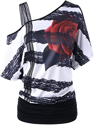 OrchidAmor Fashion Womens Casual Short Sleeve Skew Neck Strapless Floral Print T-Shirt Tops Plus Size Inclined Flower