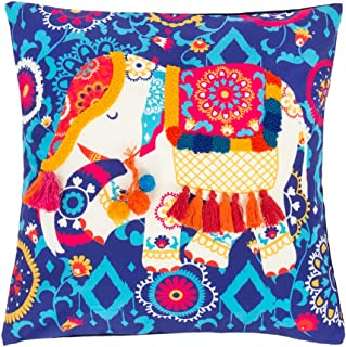 Chumbak Carnival Elephant Tassel Cushion Cover - Decorative Cushion Cover, Throw Pillow Cover for Couch and Bedroom, Home Decor, Soft Cotton and Polyester Cover, Living Room Cushion Covers,15.9x15.9
