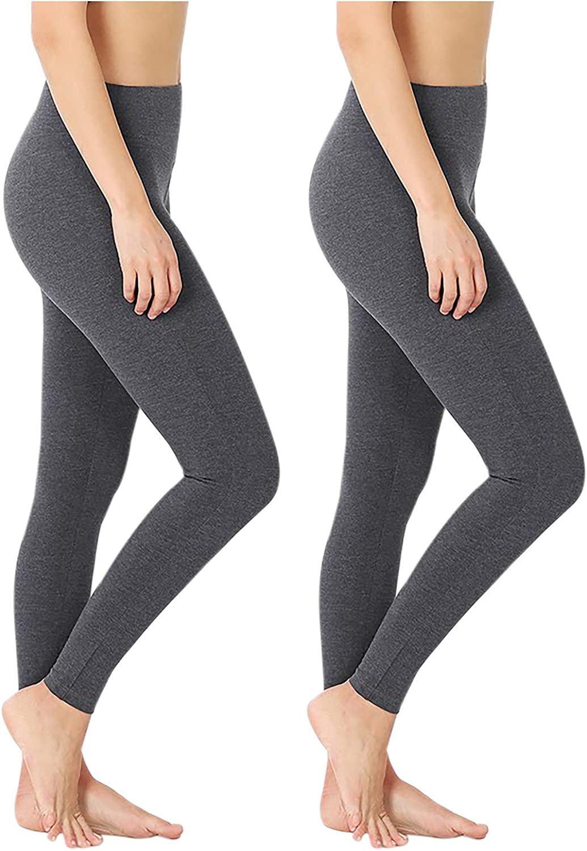 Aki Dress 2 Packs Women Legging Pants Cotton Wide Waistband Full Length Leggings Solid Charcoal At Amazon Women S Clothing Store