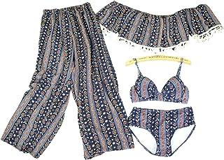 LUISUI(ルイスイ) レディース花柄ビキニ 体型カバー水着 可愛いタンキニ レース ファッション おしゃれ3点セット セクシー 水泳 海水浴 温泉に適用