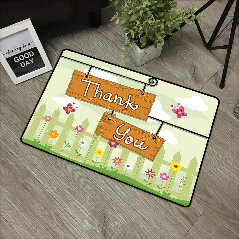 Corridor Door mat W35 x L59 INCH Butterfly,Happy Summer Design Thank You Girls Teens Nature Welcome Cartoon Style Image,Multicolor Easy to Clean, no Deformation, no Fading Non-Slip Door Mat Carpet