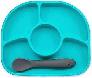 BBLUV Yumi Anti-Spill Silicone Plate & Spoon Set-Aqua, Pack of 1, B0145-A