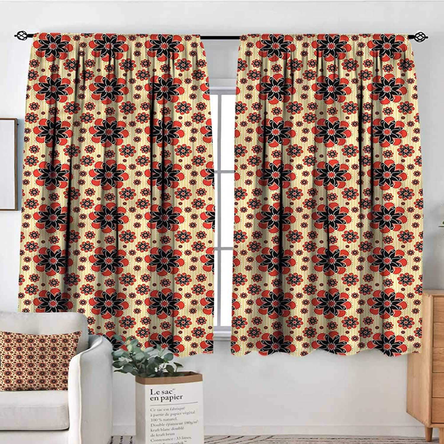 Familytaste Yellow and Red,Indo Panes Drapes greenical Lines Retro 42 X72  Kids Backout Curtains for Bedroom