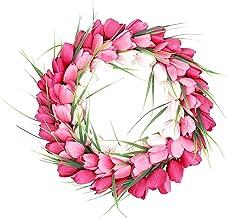 Baoblaze Tulip Wreath Artificial Flower Floral Twig Door Wreath Summer Spring Wreaths for Front Door Window Home Valentine...