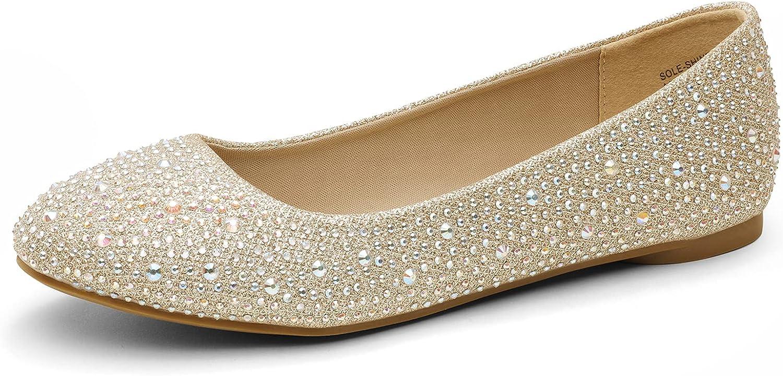  DREAM PAIRS Women's Sole-Shine Rhinestone Ballet Flats Shoes   Flats