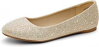 DREAM PAIRS کفش های باله Rhinestone زنانه تنها درخشان