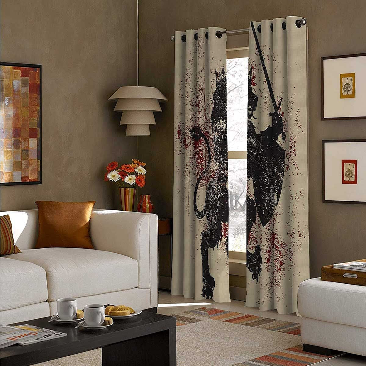 Grommet Max 63% OFF Top Window Curtain Panel 96 Nois Long Courage Lion Bombing free shipping Inch