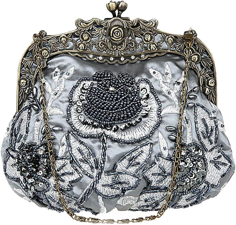 Steampunk Accessories | Goggles, Gears, Glasses, Guns, Mask ILISHOP Womens Antique Beaded Party Clutch Vintage Rose Purse Evening Handbag  AT vintagedancer.com