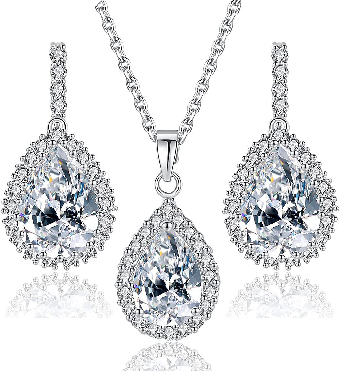 MissDaisy-Jewelry Set for Women, Necklace Dangle Stud Earrings White Gold Plated With Cubic Zirconia Wedding Party Jewelry for Bridal