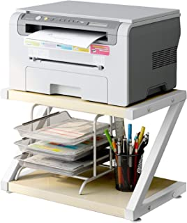 Desktop Stand for Printer - Desktop Shelf with Anti - Skid Pads for Space Organizer as Storage Shelf, Book Shelf, Double Tier Tray with Hardware & Steel for Mini 3D Printer by HUANUO