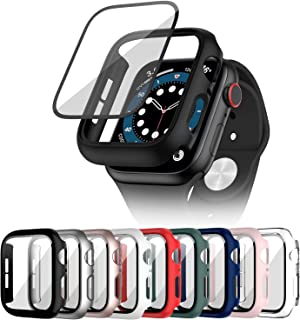 Cuteey 9 Pack for Apple Watch SE Series 6 5 4 44mm Hard Case with Built-in Tempered Glass Screen Protector, Overall Full Protective Bumper PC Cover for iwatch 44mm Accessories