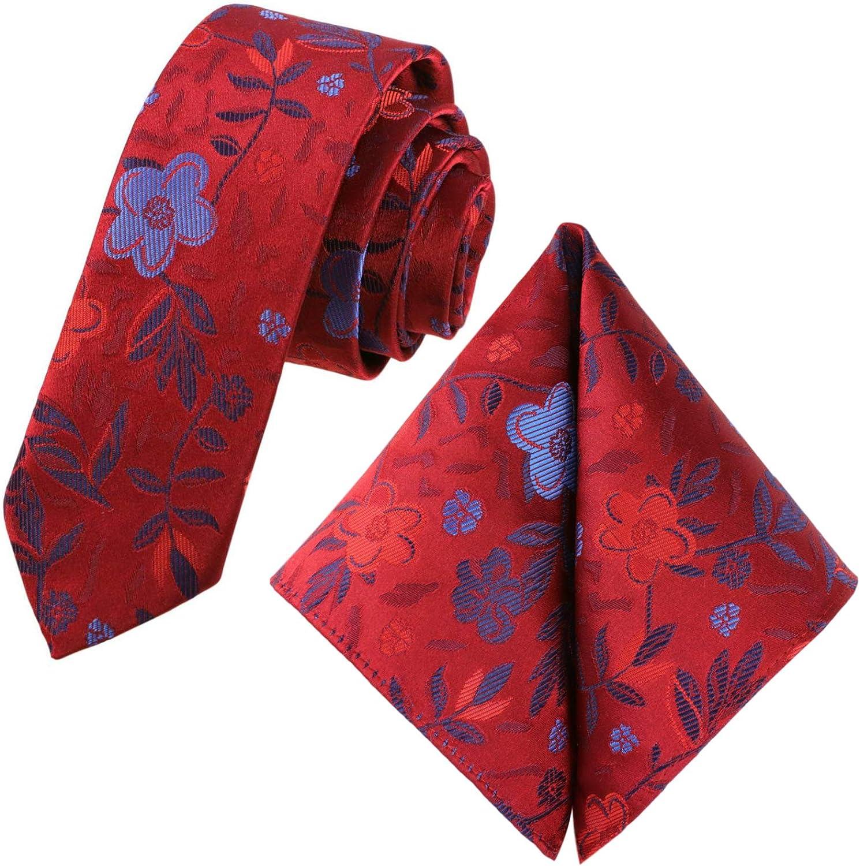 GASSANI Juego de 2 corbatas vintage con flores, 6 colores satinados, 6 cm, corbata estrecha