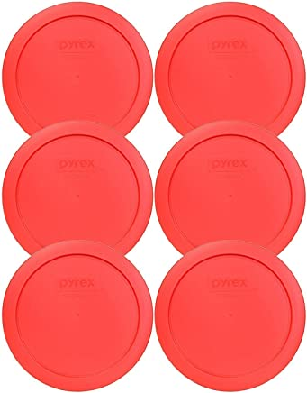 Pyrex 7201-PC 4 Cup Red Round Plastic Food Storage Lid - 6 Pack