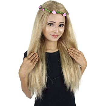 HPO Adult Women's Activist of Big Cats Wig With Flower Crown 🌸   Long Straight Blonde Hair
