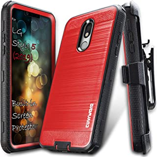 COVRWARE LG Stylo 5 case, [Iron Tank Series] Cover with [Built-in Screen Protector] Heavy Duty Full-Body Rugged Holster Armor Case (Brush Metal Texture Design) [Belt-Clip] [Kickstand], Red