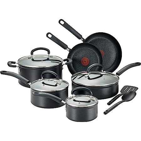 T-fal C561SC - Juego de utensilios de cocina de titanio antiadherente, avanzado, con indicador de calor para lavaplatos, 12 piezas, color negro